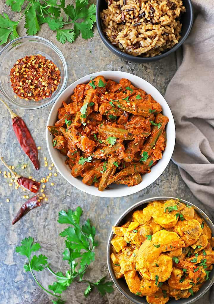 The tastiest vegan okra curry with frozen okra