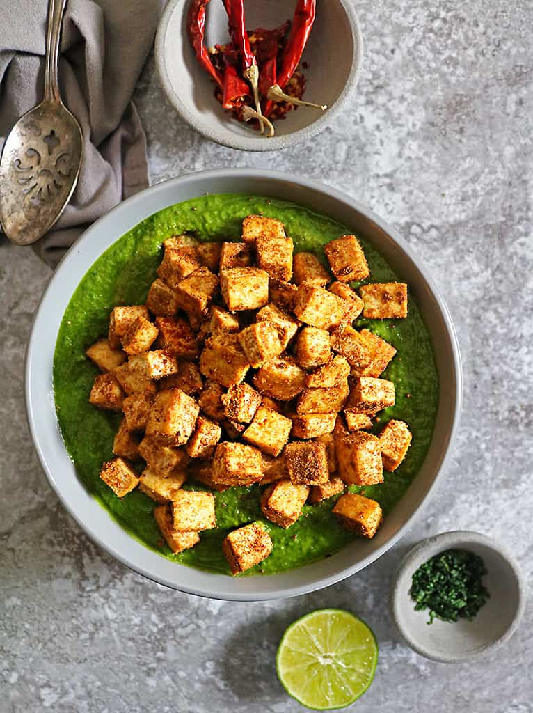 delicious creamed spinach curry sauce with crispy tofu