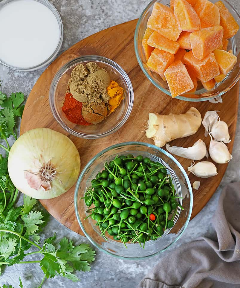 ingredients to make easy butternut squash curry