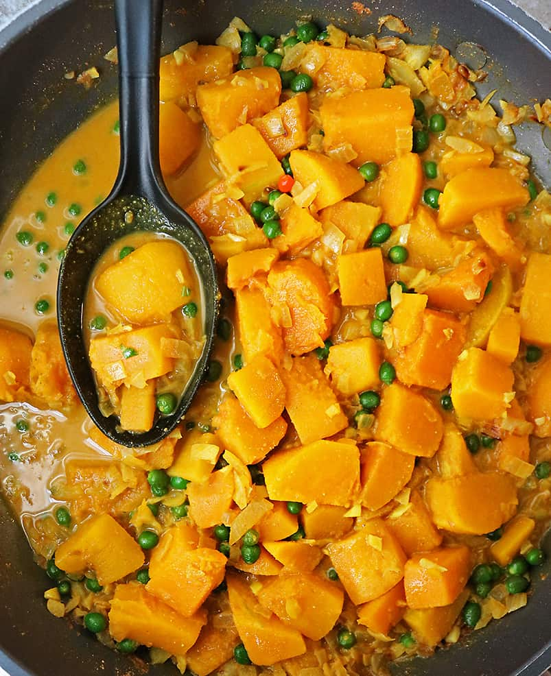 tasty vegan butternut squash curry with wild peppers