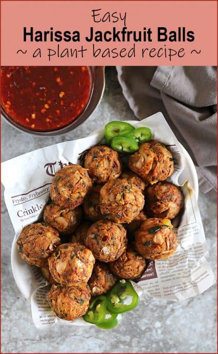 These 7 ingredient Harissa Jackfruit Balls are spiced just right! Enjoy them as a tasty snack or smother them with some sauce and enjoy they as a plant-based meatball alternative with pasta.
