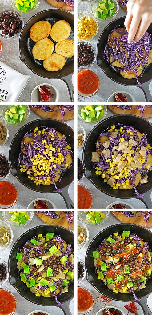 Easy steps showing how to make loaded cauliflower hash browns with strong roots