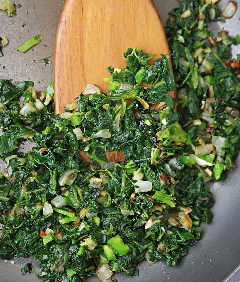 Spinach filling for Chicken Saltimbocca with a spin