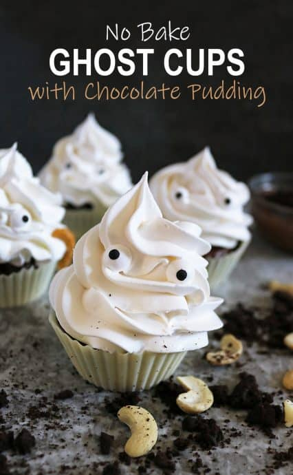 These little ghost cups are a delicious, no-bake Halloween treat! Fully edible, these are made of white chocolate cups filled with a cashew chocolate pudding and topped with whipped cream.