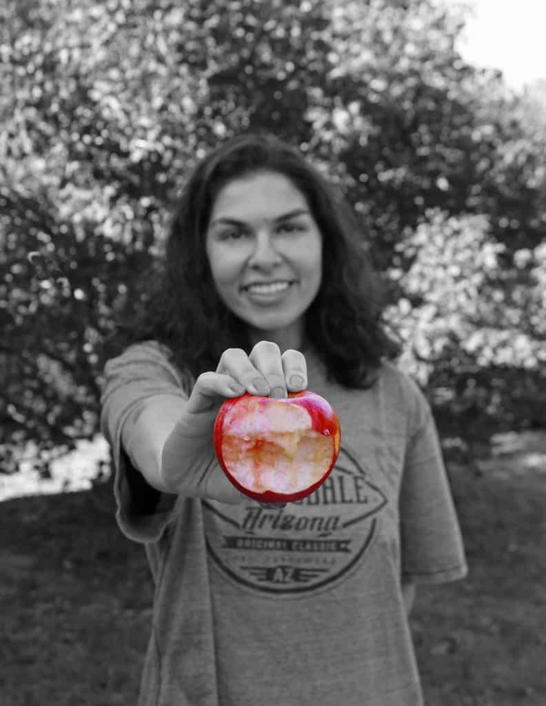 Enjoying Lucyrose apples