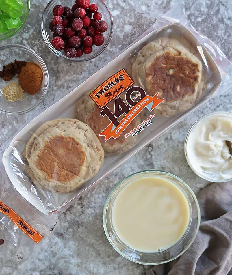 Ingredients to make English Muffins French Toast Bake with eggnog