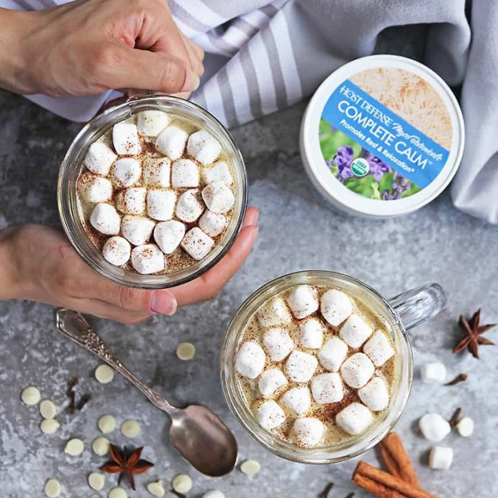 Rich Spiced White hot chocolate with Host Defense Complete Calm