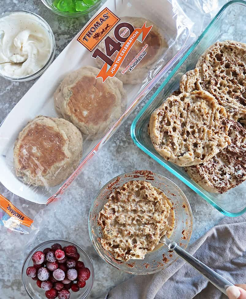 Soaking English Muffins to make French Toast Bake with eggnog