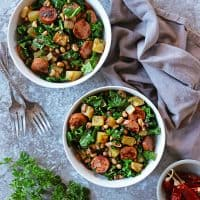 Easy 6-Ingredient Black-Eyed Peas Collard Greens Sausage Hash For New Years