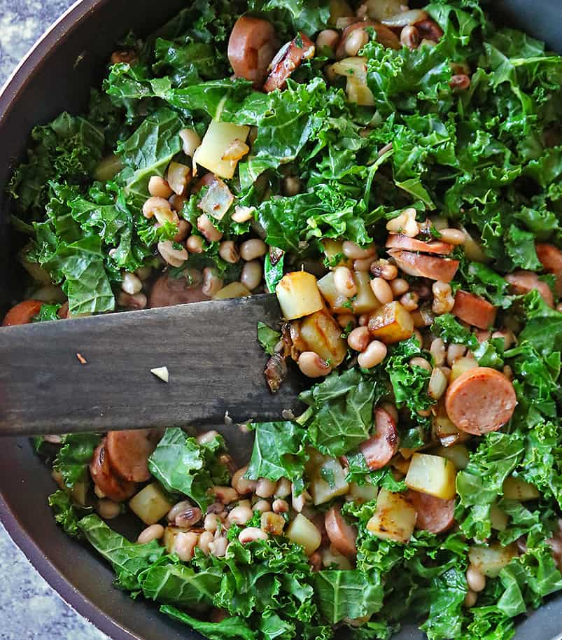 Making good luck new years hash for breakfast