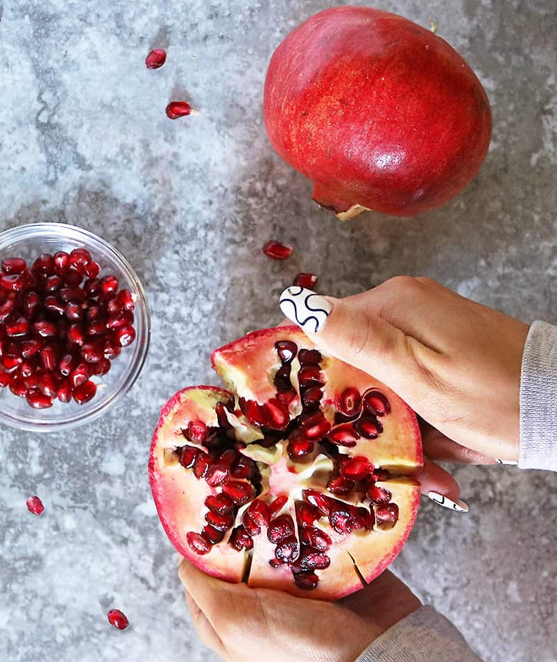 ruby hued Pomegranates from sprouts