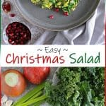 This Christmas Salad is a blend of sautéed kale, shredded Brussels sprouts, celery, jalapeno, onions, ginger, garlic, and za'atar. Served with pomegranate arils, this is a festive and healthy salad to add to your holiday table.
