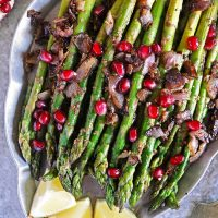 Tasty Easy Zataar Asparagus with Pomegranate arils.