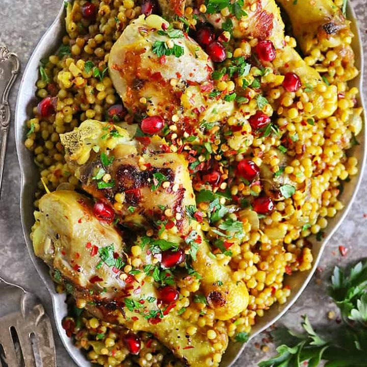 Easy one pot Israeli couscous chicken dinner meal.