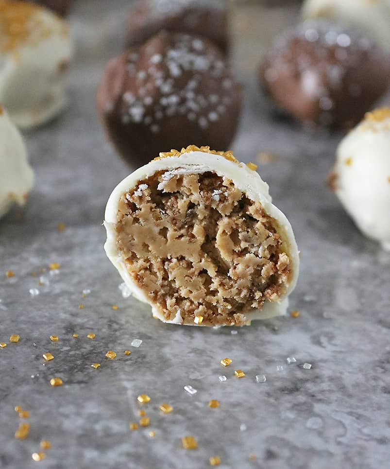 no bake chocolate covered crunchy peanut butter balls
