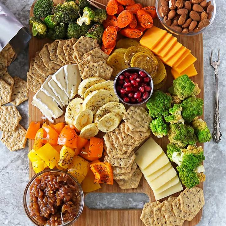 zaatar roasted veggies cracker cheese platter