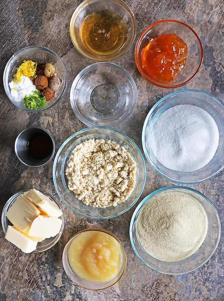 18 Ingredients To Make this Eggless Sri Lankan Love Cake from overhead.