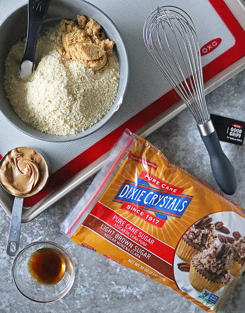 Ingredients to make Almond Flour Peanut-Butter Cookies