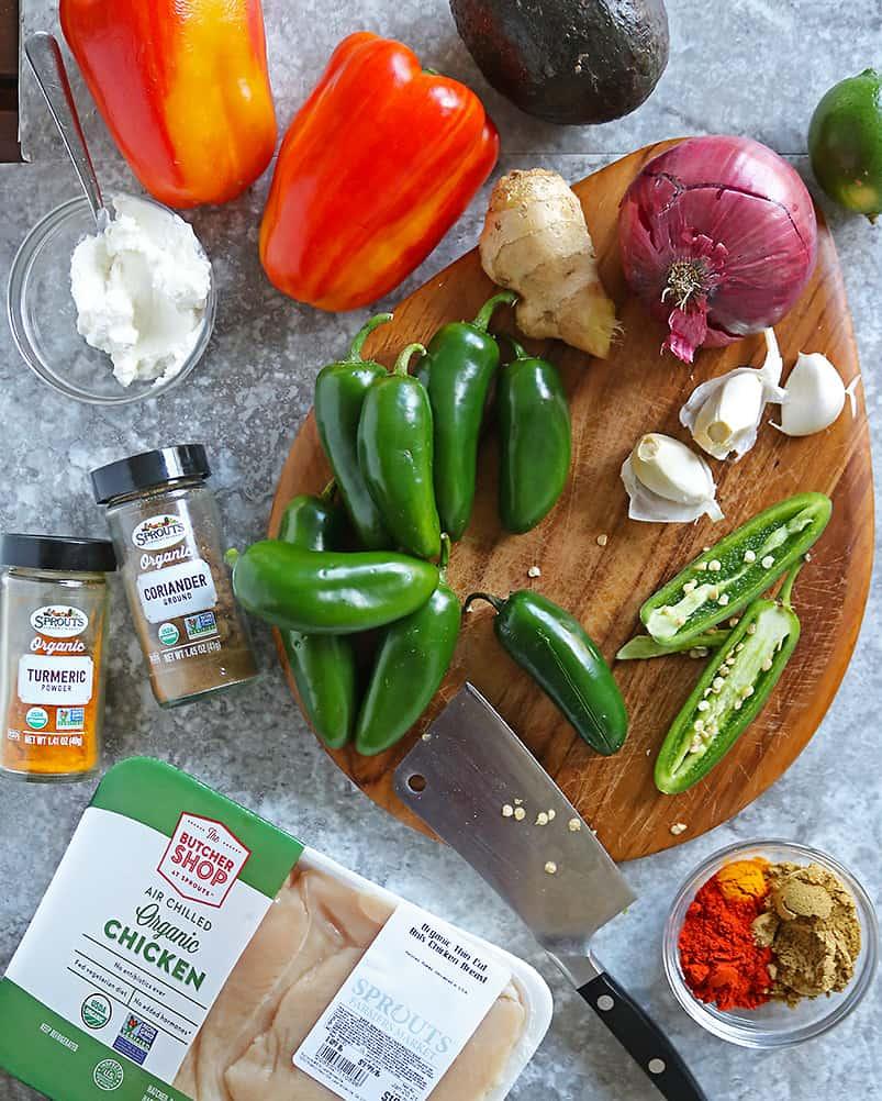 Ingredients to make Keto Stuffed Jalapenos