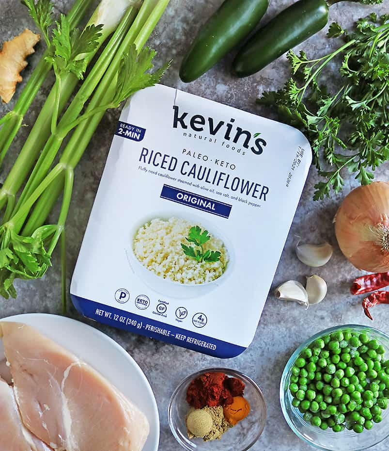 Kevins Riced Cauliflower and other ingredients to make the one pan fried cauliflower rice chicken dinner.