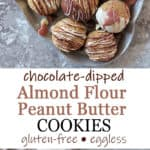 These Almond Flour Peanut Butter Cookies are my tasty, gluten-free, eggless, spin on traditional peanut butter cookies. These melt-in-your-mouth cookies are made with 6 main ingredients and are ready to enjoy in 30 minutes. Serve them dipped in chocolate for a truly indulgent cookie.