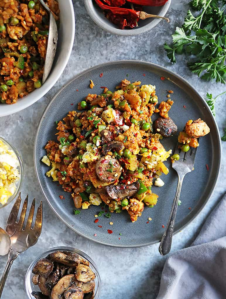 Tasty Easy Pan-Fried Chicken Cauliflower Rice