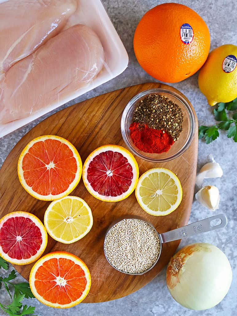 Overhead photo of Ingredients to make healthy citrus chicken quinoa dinner