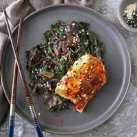 gray plate with Miso Glazed Cod with Spinach and Onions