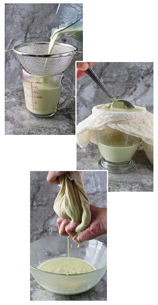 Collage of 3 different ways to strain nut milk