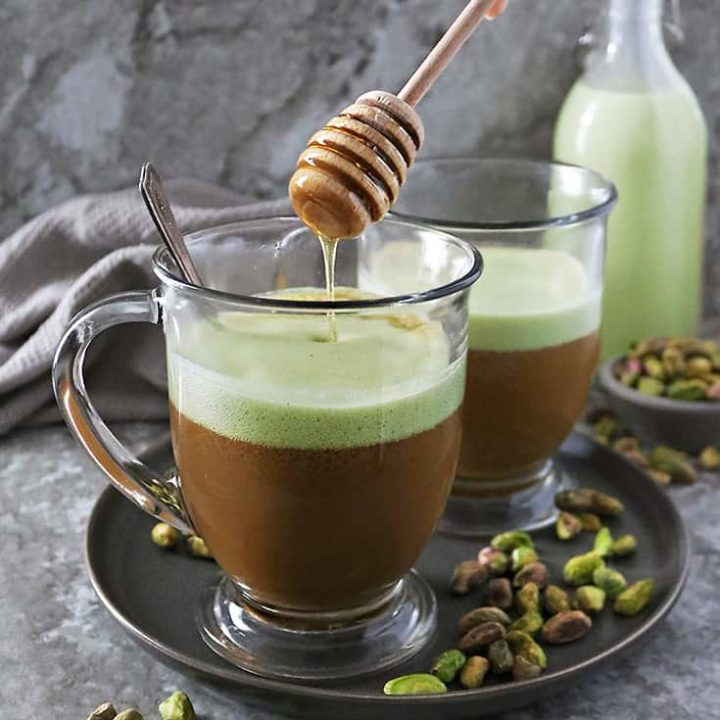 Easy homemade Honey-sweetened Pistachio Latte made at home without any fancy equipment