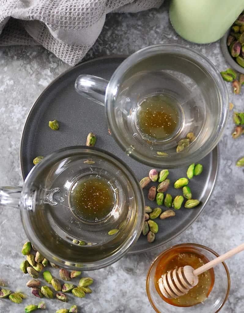 First step to make honey pistachio latte