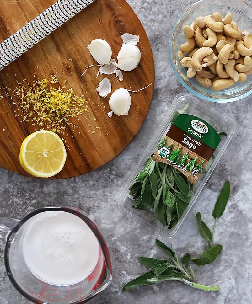 Ingredients to make Vegan Creamy Garlic Sage Sauce