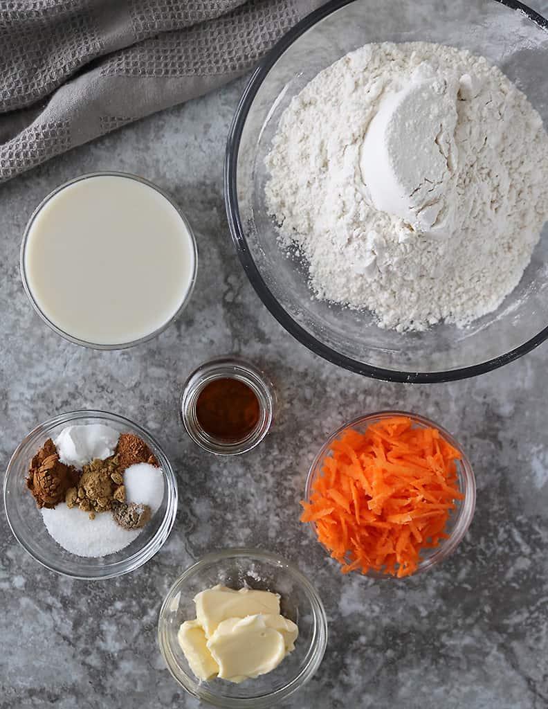 Pantry staple Ingredients to make carrot cake cinnamon rolls dough