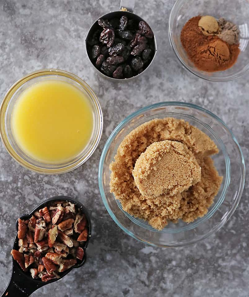 Ingredients to make cinnamon roll filling.