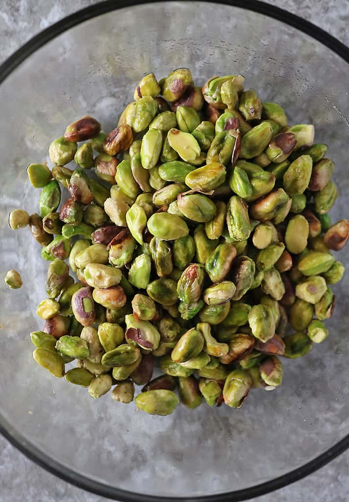 Pistachios soaked drained and ready to blend