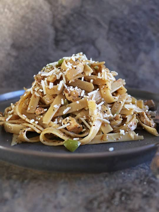 Plate with Tasty One pot Zaatar Cacio e Pepe adapted from Ottolenghi.