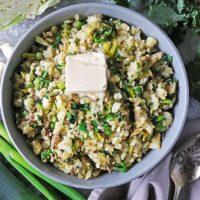 Bowl with garlic Irish Mashed Potatoes