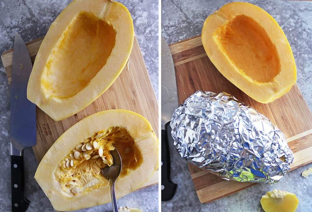 2 pictures collaged together to show the Cutting and prepping spaghetti squash to bake.