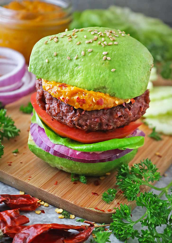 Delicious plant-based Beyond Meat Burger on avocado