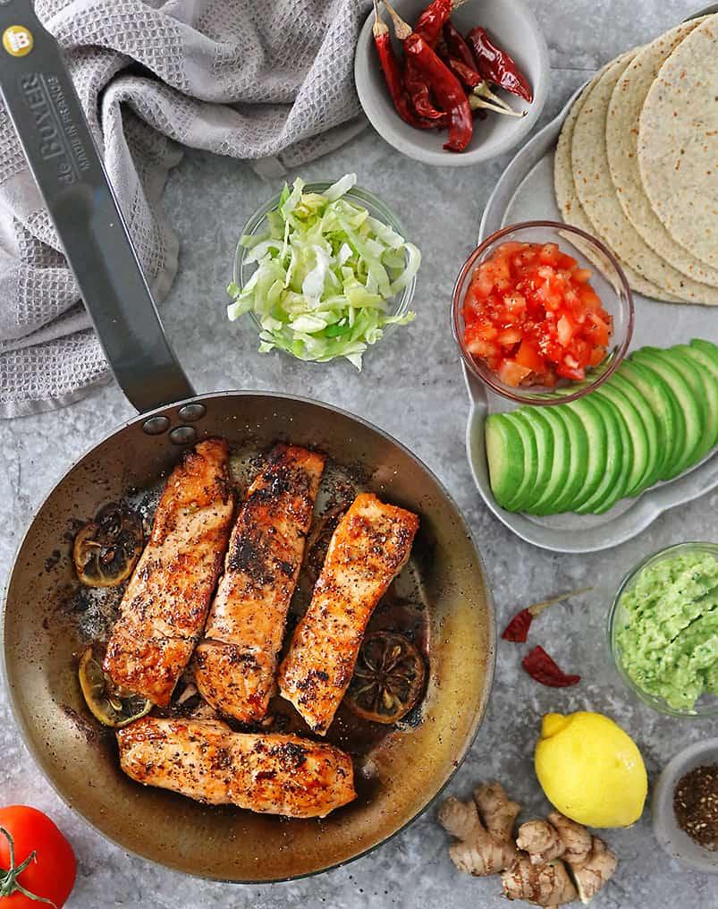Easy tasty lemon ginger salmon tacos