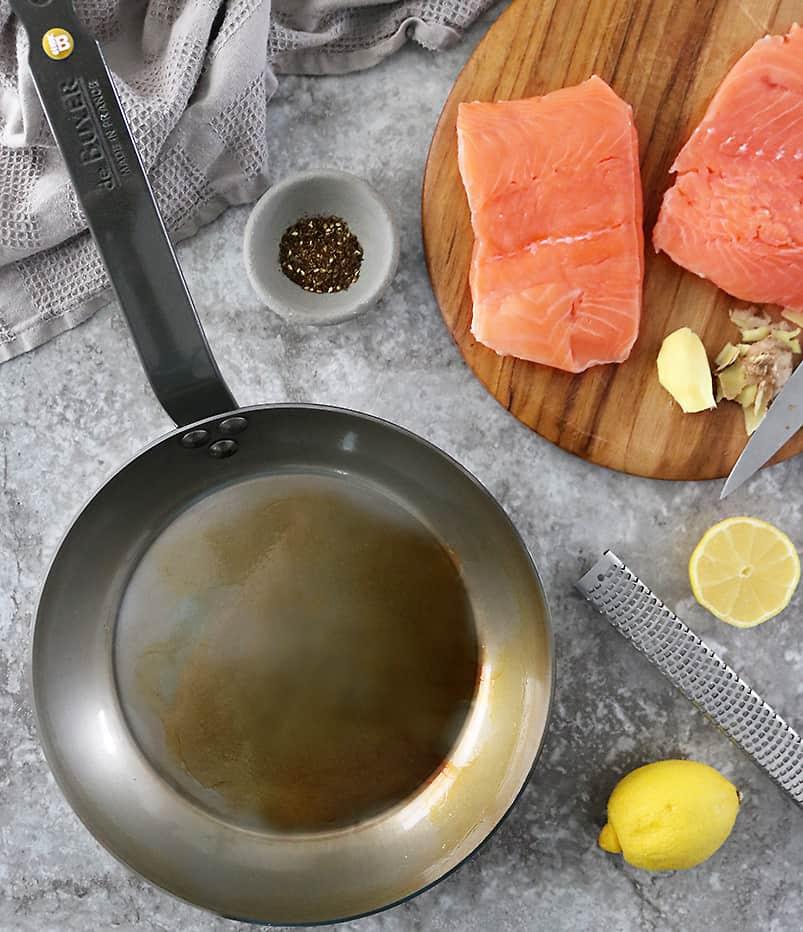 Ingredients to make lemon ginger salmon tacos