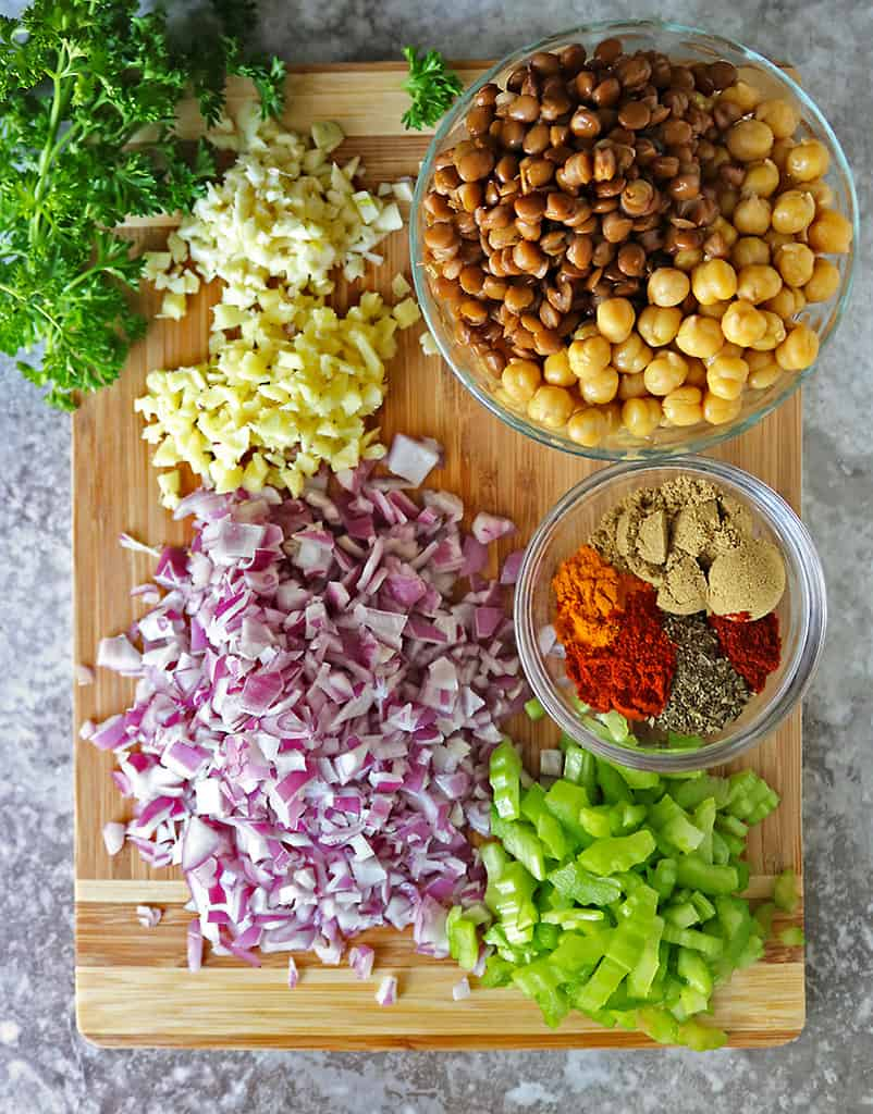 Ingredients to make lentil chickpea stuffing for spaghetti squash
