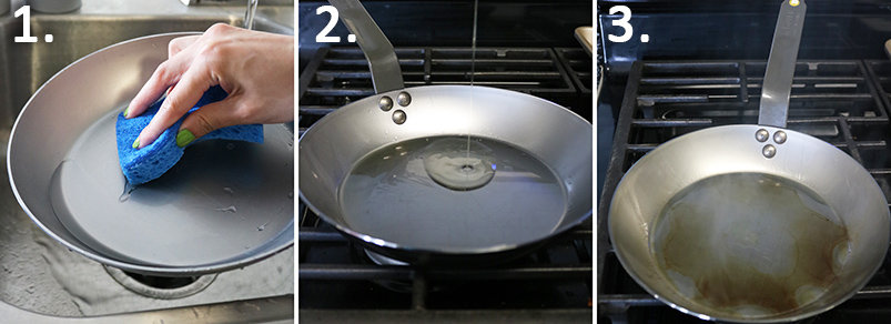 3 steps to Preparing a de Buyer MineralB pan to use