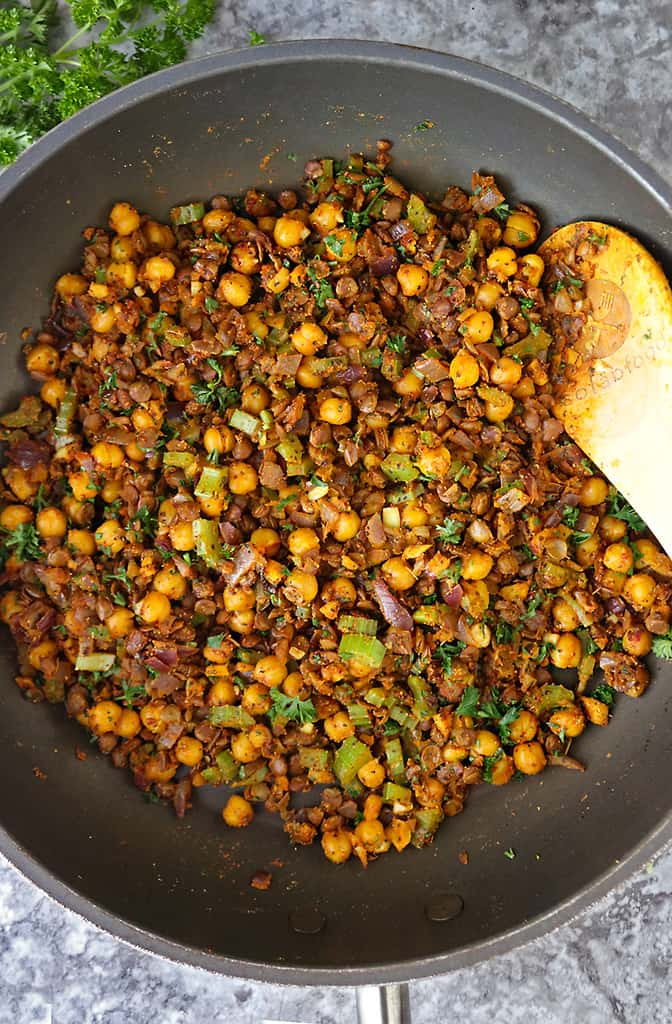 Spicy curried lentil chickpea stuffing for spaghetti squash