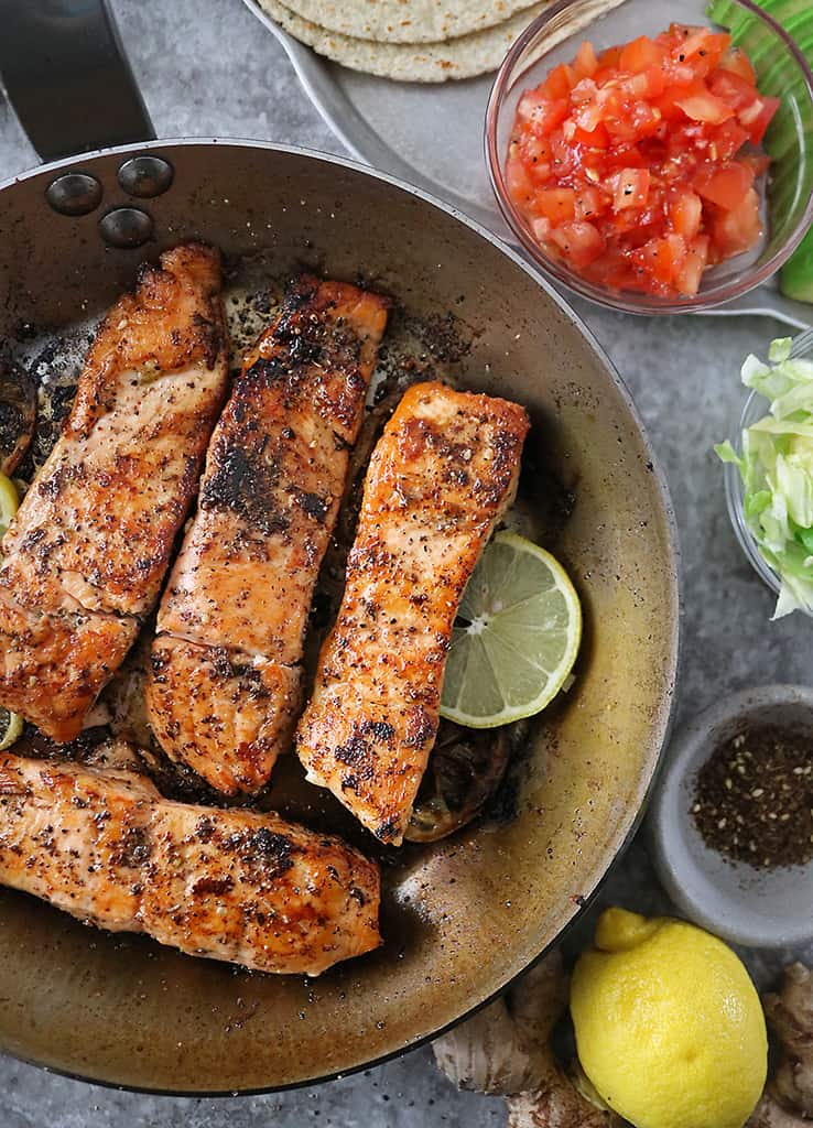 flaky delicious lemon ginger salmon cooked in deBuyer MineralB pan