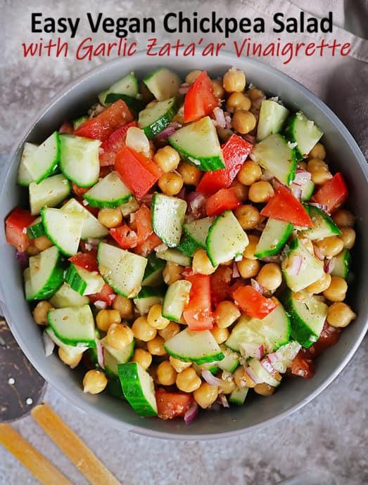 Easy Vegan Chickpea Salad with Garlic Zataar Vinaigrette