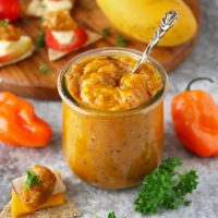 Easy and delicious Mango Habanero Chutney pairs so well with cheese crackers and fruit