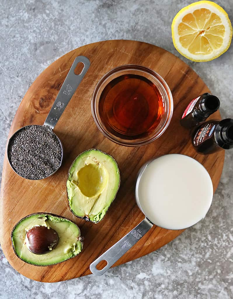 Ingredients to make avocado chia pudding