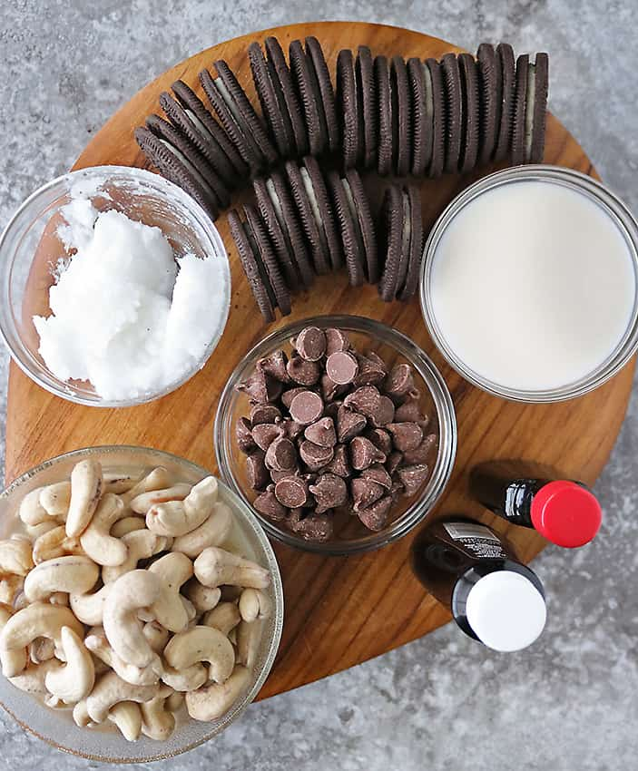 Overhead photo of ingredients to make easy no-bake chocolate cashew cake