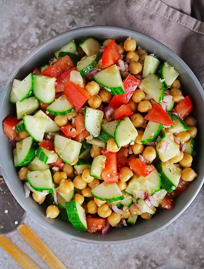large bowl of plant-based easy chickpea salad.